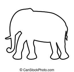 sprytny, odizolowany, zwierzę, słoń, konserwator, ikona