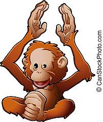 sprytny, orangutan, wektor, ilustracja