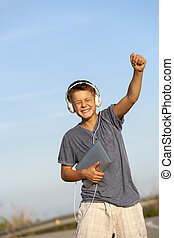 sprytny, outdoors., chłopiec, rytm, taniec