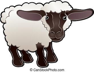 sprytny, owca uprawiają, zwierzę, wektor, ilustracja
