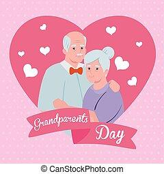 sprytny, ozdoba, starszy, rodzice, dzień, serca, wielki, ...