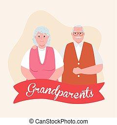 sprytny, ozdoba, starszy, rodzice, dzień, wielki, para, ...