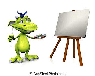 sprytny, painting., rysunek, potwór