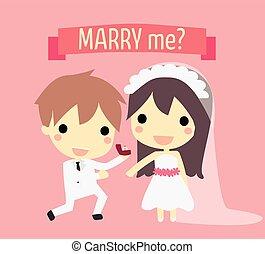 sprytny, para, ślub