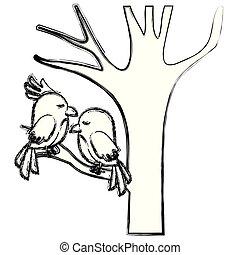sprytny, para, drzewo, ptaszki