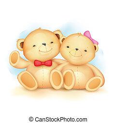 sprytny, para, niedźwiedź, teddy