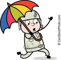 sprytny, parasol, armia, -, ilustracja, żołnierz, wyścigi,...
