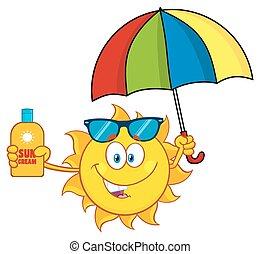 sprytny, parasol, dzierżawa, słońce