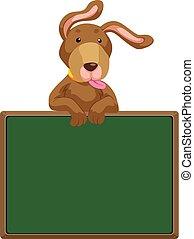 sprytny, pies, tablica