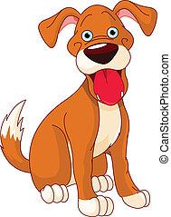 sprytny, pies, uśmiechanie się