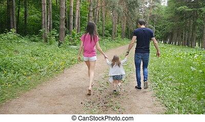 sprytny, pieszy, park, rodzice, dziewczyna niemowlęcia
