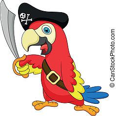 sprytny, pirat, papuga, rysunek