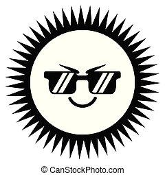 sprytny, pogoda, szczęśliwy, ikona, słońce