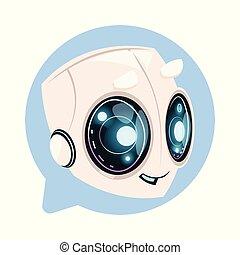 sprytny, pojęcie, bańka, technologia, chatbot, bot, mowa, ...