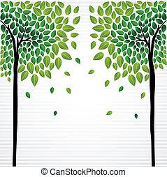 sprytny, pojęcie, rysunek, drzewa