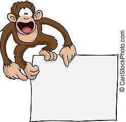 sprytny, pomylony, małpa, ilustracja, znak