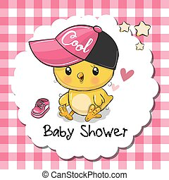 sprytny, powitanie, przelotny deszcz, kurczę niemowlęcia, dziewczyna, karta