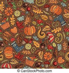 sprytny, próbka, seamless, ręka, jesień, pociągnięty, rysunek