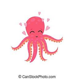 sprytny, projektować, morze, różowy, zabawny, sieć, otoczony, litera, wiadomość, druk, animal., logo, kochający, płaski, rysunek, karta, dzieciaki, wektor, towarzyski, hearts., ośmiornica, albo
