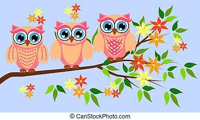 sprytny, przelotne deszcze, girls., owls., partie, dziewczyna niemowlęcia