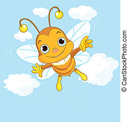 sprytny, przelotny, niebo, pszczoła