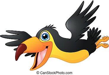 sprytny, przelotny, tukan, ptak, rysunek
