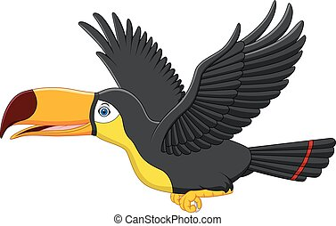 sprytny, przelotny, tukan, rysunek, ptak