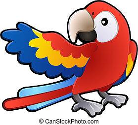 sprytny, przyjacielski, ara, papuga, ilustracja