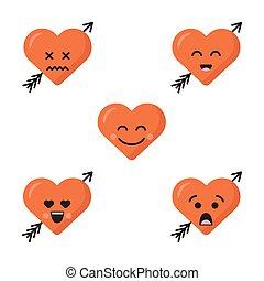 sprytny, różny, komplet, płaski, odizolowany, zbiór, emoticons, serce, tło., piątka, strzała, twarze, biały, emoji, smiles., faces., szczęśliwy