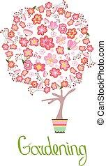 sprytny, różny, kwiat, flowers;, drzewo, stylizowany, pot., topiary