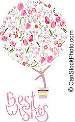 sprytny, różny, kwiat, topiary, drzewo, stylizowany, pot., kwiaty