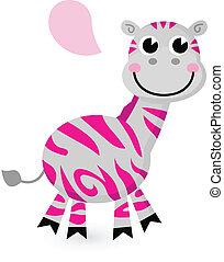 sprytny, różowy, zebra, odizolowany, na białym