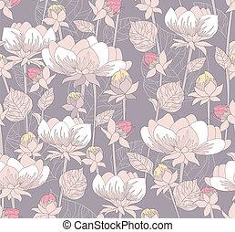 sprytny, retro, seamless, kwiatowy wzór