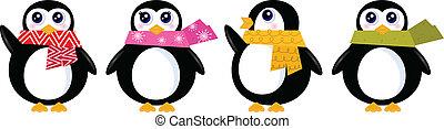 sprytny, retro, zima, pingwin, komplet, odizolowany, na...