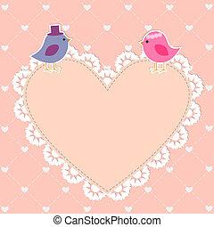 sprytny, romantyk, karta, ptaszki