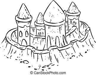 sprytny, rys, towers., odizolowany, ręka, piasek, forteca, pociągnięty, lineart, zamek, albo, rysunek, fort