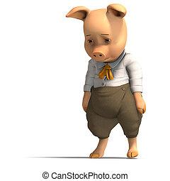 sprytny, rysunek, świnia, z, odzież