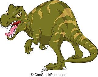 sprytny, rysunek, dinozaur