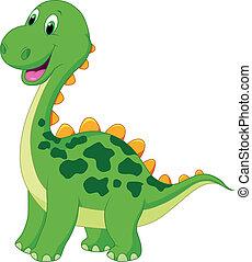 sprytny, rysunek, dinozaur, zielony