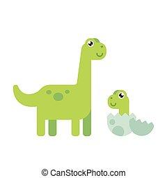 sprytny, rysunek, dinozaury