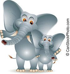 sprytny, rysunek, dwa, słoń