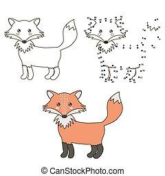 sprytny, rysunek, fox., kolorowanie, i, kropka, do, kropka, oświatowy, gra