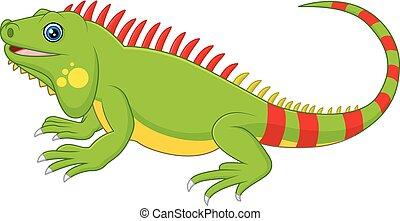 sprytny, rysunek, kameleon