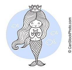 sprytny, rysunek, księżna, syrena, fish.