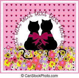 sprytny, rysunek, love., romantyk, koty
