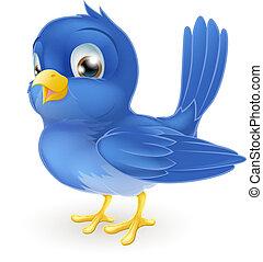 sprytny, rysunek, niebieski ptak