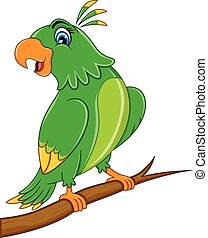 sprytny, rysunek, papuga