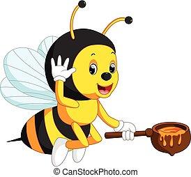 sprytny, rysunek, pszczoła