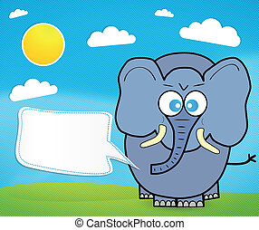 sprytny, rysunek, słoń