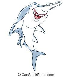 sprytny, rysunek, sawfish
